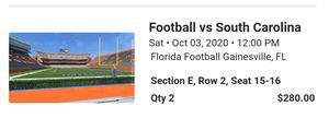 UF Gator tickets and weekend stay package for Sale in St. Petersburg, FL