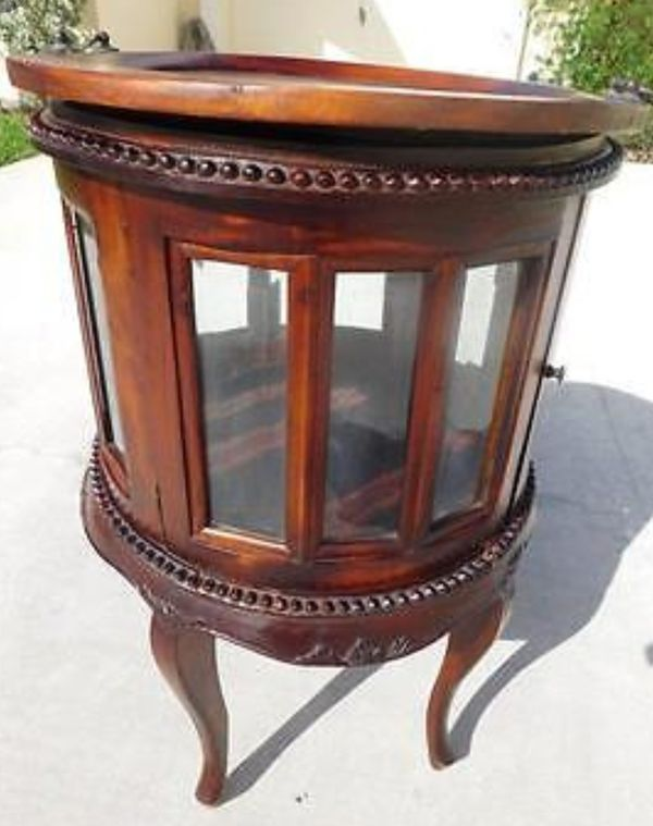 Round glass wood curio end table