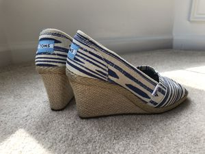 Toms Wedges, Blue & White for Sale in Chantilly, VA
