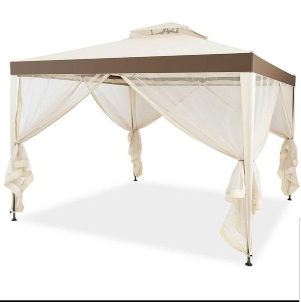 10' x 10' Gazebo With Mosquito Netting Canopy Tent Shelter Outdoor Patio