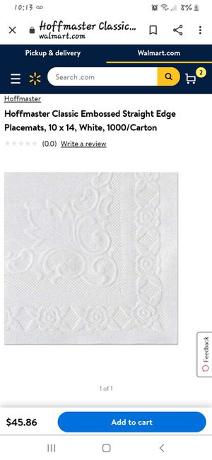 Hoffmaster Classic Embossed Straight Edge Placemats for Sale in Fontana, CA