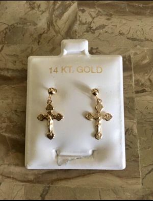 14kt. Solid Gold (Not Plated) Cross Earrings. Older Quality Gold Earrings! for Sale in Laguna Beach, CA