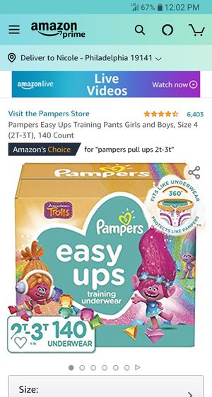 Pampers easy ups Size 2t-3t. 140 count ( 2 in stock Nw) Front Display for Sale in Phoenix, AZ