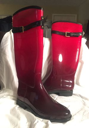 Women's size 11 Red black rain boots for Sale in Norfolk, VA