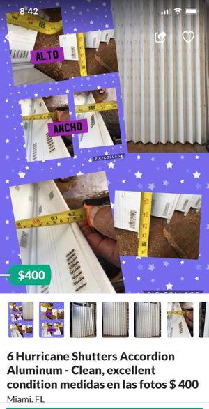 🎁 6 Hurricane Shutters Accordion Aluminum - Clean, excellent condition medidas en las fotos $ 400 🎁 for Sale in Miami, FL