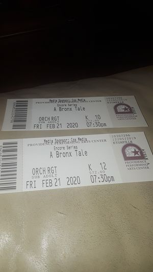 A bronx tale two tickets. Face value 72.00 ea. for Sale in North Providence, RI