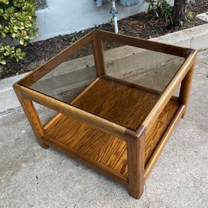 Vintage Boho Smoked Glass Coffee Table / End Side Table for Sale in San Diego, CA