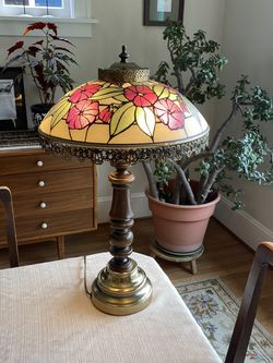 Vintage Mid Century Gilbert of New York Metal, Wood and Glass table Lamp for Sale in Portland,  OR