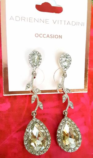 Shipping or PickUp: New Adrienne Vittadini silvertone faux diamond acrylic and crystal dangle earrings for Sale in Fullerton, CA