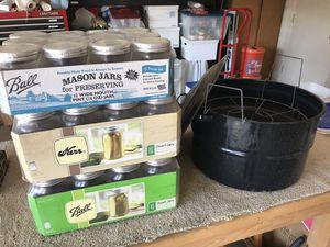 Canning Supplies: Large Enamel Pot, Qt size jars and Pt size jars for Sale in Phoenix, AZ