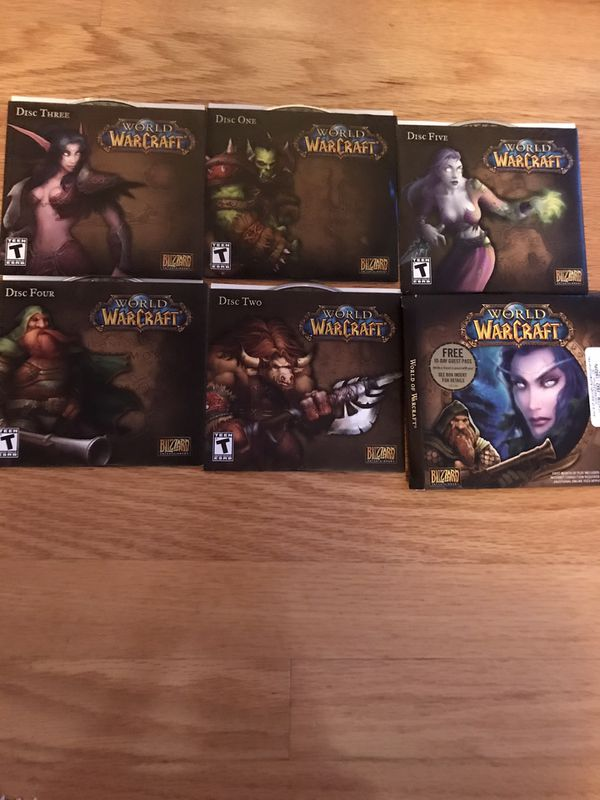 World of Warcraft, Computer Game 5 Discs PC Mac CD Blizzard