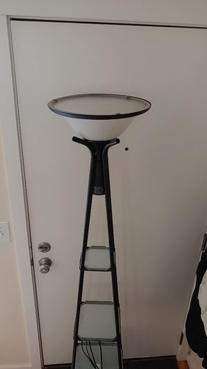 Floor lamp with 3 glass shelves for Sale in Seattle, WA