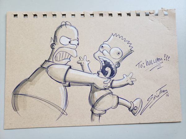 The Simpsons original sketch from Erick Tran, Simpsons animator for over 20 years