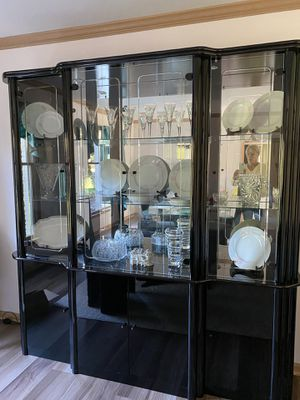 Classic black lacquer display cabinet for Sale in Freehold, NJ