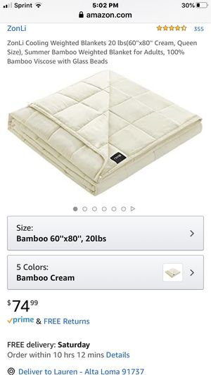 ZonLi Queen Bamboo Weighted Blanket 20lb for Sale in Alta Loma, CA