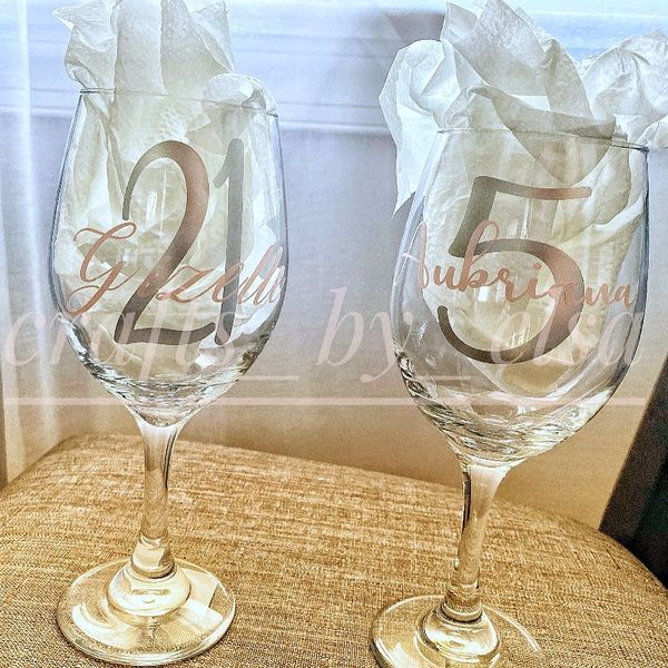 Personalized wine cups.