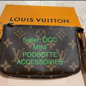 BRAND NEW AUTHENTIC LOUIS VUITTON MADE IN FRANCE 🇫🇷 PARIS LV BROWN MONOGRAM MINI POCHETTE ACCESSOIRES 💼 👛 for Sale in Kent, WA