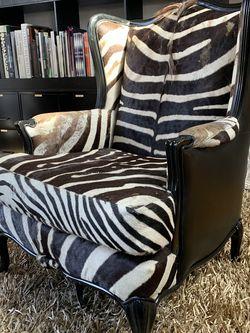 HOLLYWOOD REGENCY CHOCOLATE ZEBRA SKIN WING CHAIR for Sale in Los Angeles,  CA