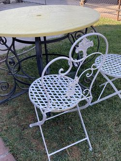 2 vintage foldable chairs and table Glass Include for Sale in Los Angeles,  CA