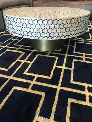 Anthropologie: Handmade turquoise, white, Gold, natural stone Coffee Table for Sale in West Hollywood, CA