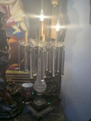 """2 antique lamps pairs cristal bronze and marble 28"""" inch tall for Sale in Hialeah, FL"""
