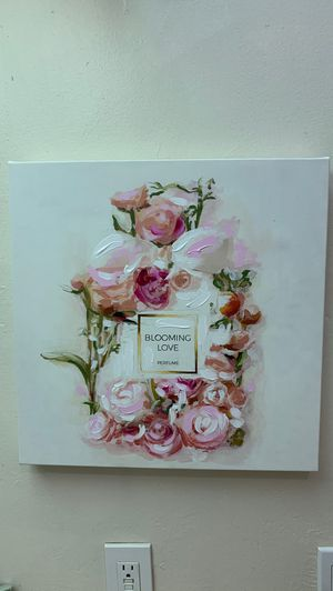 Blooming love pink white floral perfume painting square for Sale in San Diego, CA
