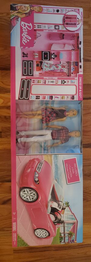 Barbie Dress Up and Go Includes Ultimate Closet, Glam Convertible and Barbie Ken Dolls Big Box Set for Sale in Elizabeth, NJ