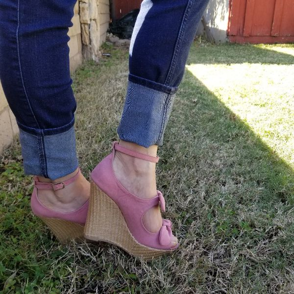 Pink Suede Bow Ankle Strap