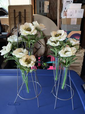 Magnolia Bud Vases and faux flowers for Sale in Puyallup, WA