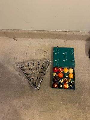 Tight rack and pool balls for Sale in Alexandria, VA