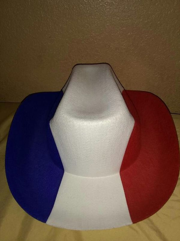 Red,white and blue cowboy hat