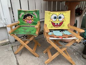 spongebob and dora wood foldable chairs. Kids . Both for 10. for Sale in San Diego, CA
