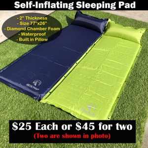 "New self inflating sleeping pad 2"" thick diamond chamber camping picnic backpacking for Sale in Riverside, CA"