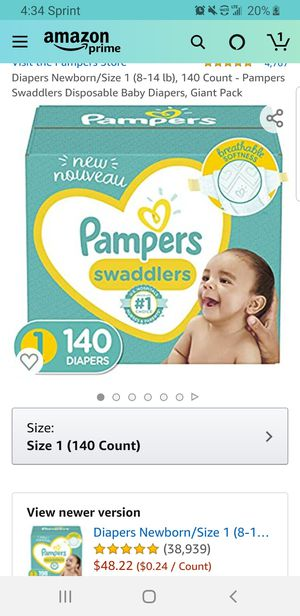 Diapers Newborn/Size 1 (8-14 lb), 140 Count - Pampers Swaddlers Disposable Baby Diapers, Giant Pack for Sale in Clovis, CA
