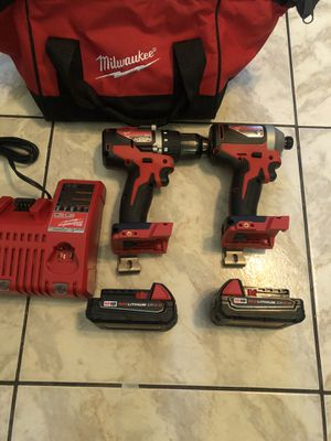 New Milwaukee 18-Volt Lithium-Ion Brushless Cordless Compact Drill/Impact Combo Kit (2-Tool) W/ (2) 2.0Ah Batteries, Charger & Bag $190 for Sale in Lauderhill, FL