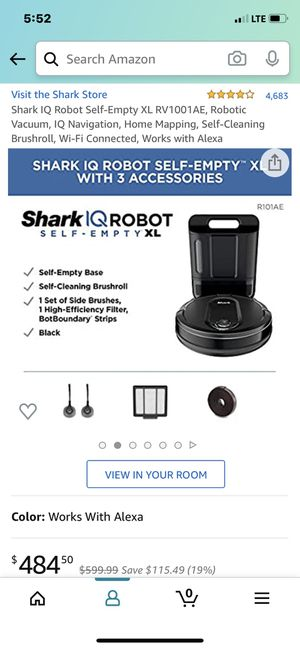 Shark IQ robot vacuum, self emptying..in the box for Sale in Lakeland, FL