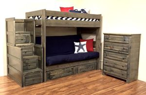 Futon bunk bed with stairway chest. Color choice for Sale in Glendale, AZ