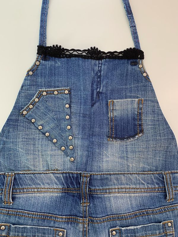 Childrens Upcycled Medium Wash Homemade Jean Apron w/ Crochet Detailing