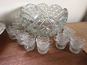 LE Smith Daisy & Button punch bowl with 17 glasses for Sale for sale  Lyndhurst, NJ