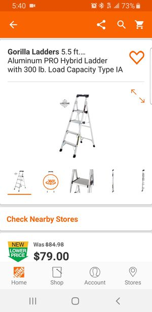 Gorilla Ladders 5.5 ft. Heavy Duty Aluminum PRO Hybrid Ladder with 300 lb. Load Capacity Type IA Duty Rating for Sale in Miami, FL