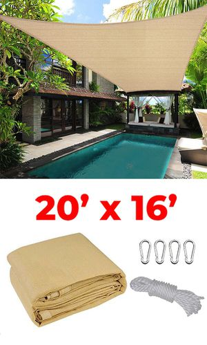 New $50 each 20x16' Rectangle Sun Shade Sail Outdoor Canopy Top Cover, Tan Color for Sale in El Monte, CA