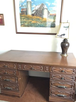 Beautiful antique desk and lamp. for Sale in Chicago, IL