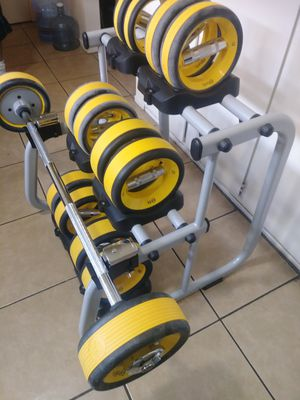 Nubell Dumbbells set With rack and Bar for Sale in Upland, CA
