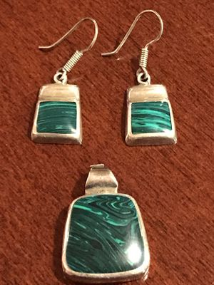 Malachite and Silver Pendant And Earrings for Sale in Redmond, WA