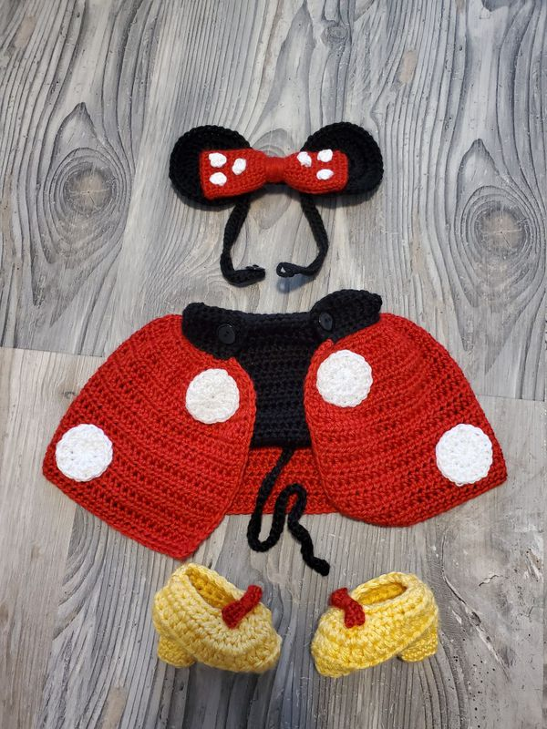 Minnie Mouse inspired Crochet Newborn Costume Outfit