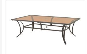 New Hampton Bay Riverbrook Espresso Brown Rectangular Glass Top Steel Outdoor Patio Dining Table for Sale in Orland Park, IL