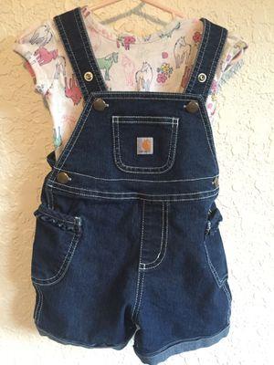 12m carhart girls bibs and horse shirt for Sale in Everett, WA