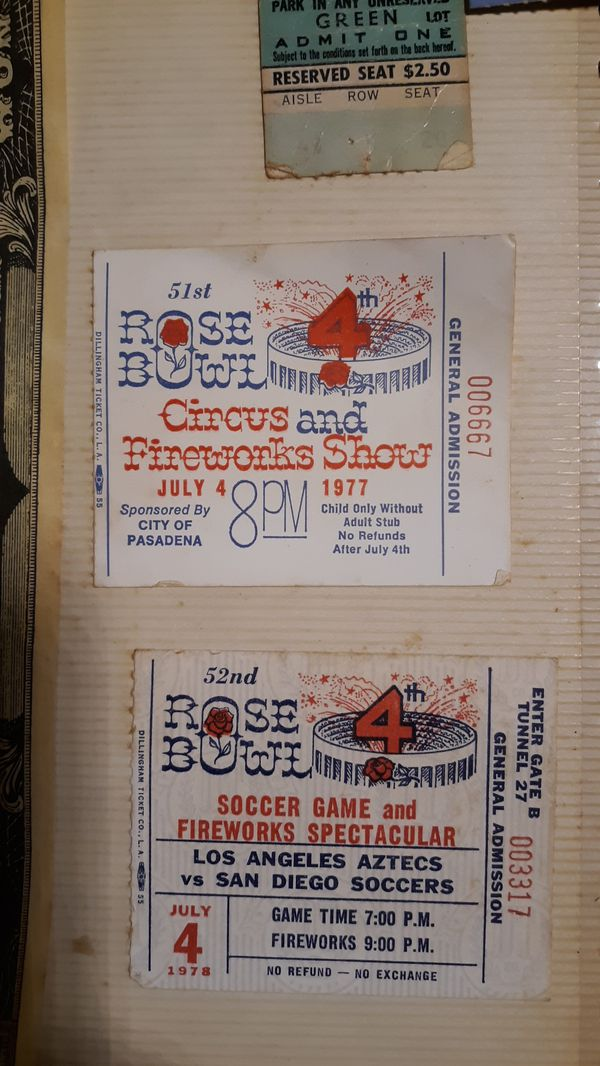 Rose Bowl tickets July 4th 1977 July 4th 1978