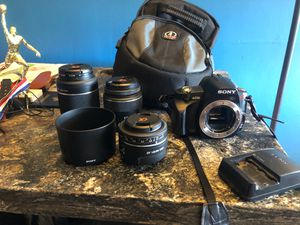 Sony A230 DSLR Camera with 3 lens, battery, charger, and camera bag for Sale in San Leandro, CA