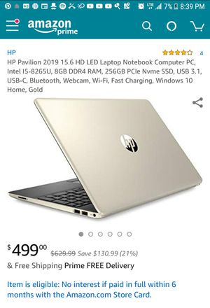 HP pavalion 2019 15.6 HD LED Laptop Notebook for Sale in Elgin, IL